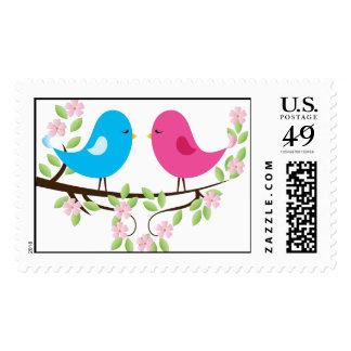 Little Birds on Floral Branch Postage