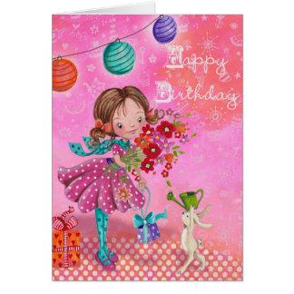 Little Birthday Girl Illustration | Birthday Card