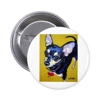 Little Bitty Chihuahua - Black and Tan Chihuahua Button
