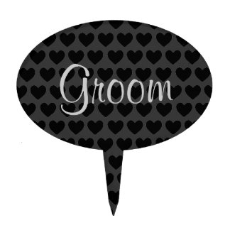 Little Black and Grey Hearts Groom Cake Cake Topper