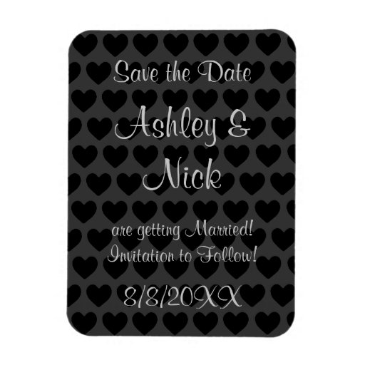 Little Black and Grey Hearts Save the Date! Magnet