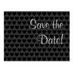 Little Black and Grey Hearts Save the Date! Post Card