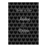 Little Black and Grey Hearts Wedding 5x7 Paper Invitation Card