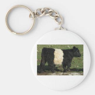 Little Black Beltie Calf Basic Round Button Keychain