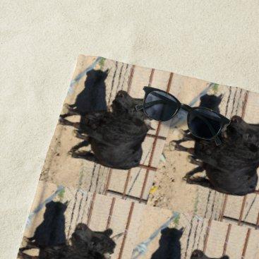 Beach Themed Little Black Bull Beach Towel