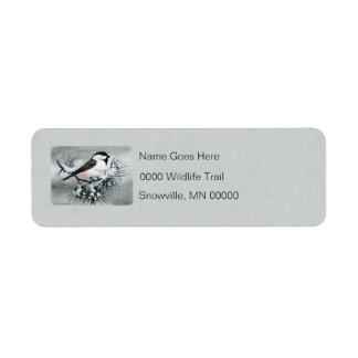 Little Black Capped Chickadee Bird Label