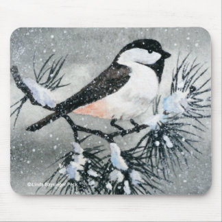 Little Black Capped Chickadee Bird Mouse Pad
