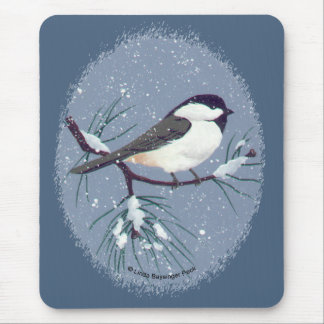 Little Black Capped Chickadee Oval Mouse Pad