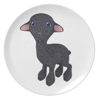 Little Black Cartoon Lamb Melamine Plate