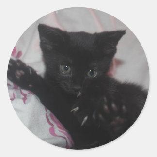 Little black cat classic round sticker