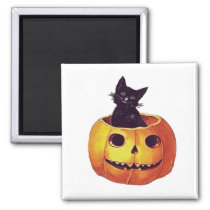 Little black cat in pumpkin, Halloween greetings Magnet