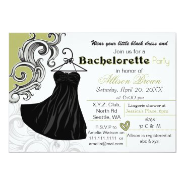 Little black dress bachelorette party invite