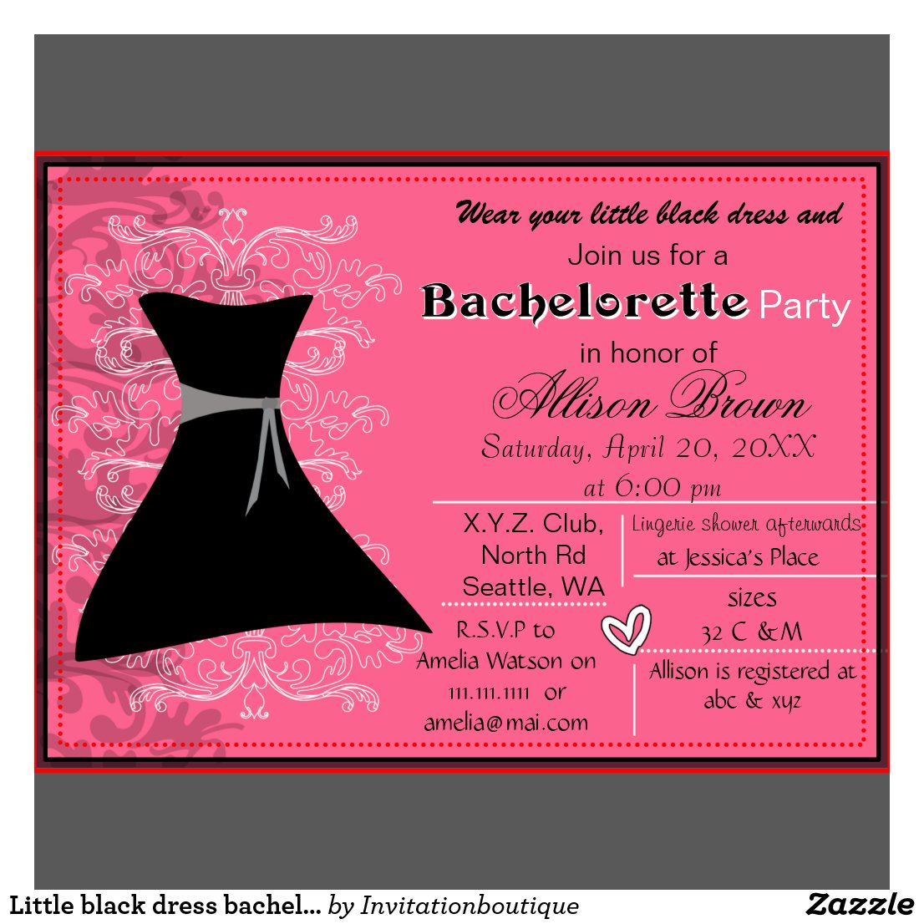 Little Black Dress Bachelorette Party Invitations godstyle ...