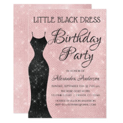 Little Black Dress Blush Pink Birthday Party Card