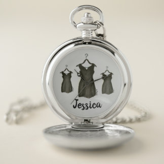 Little Black Dress LBD Cocktail Party Fashionista Pocket Watch