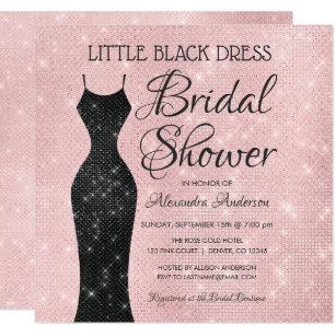 little black dress pink sparkle bridal shower invitation