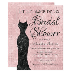 Little Black Dress Pink Sparkle Bridal Shower Invitation