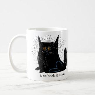 Little black frazzled cat coffee mug