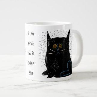 Little black frazzled cat giant coffee mug