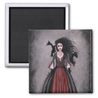 Little Black Haired Girl + Crows 2 Inch Square Magnet