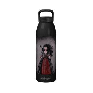 Little Black Haired Girl + Crows Water Bottles