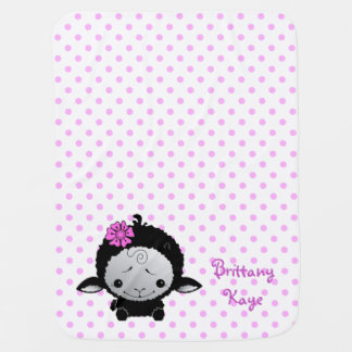 Little Black Lamb Pink Polka Dot Personalized Baby Blanket