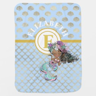 Little Black Mermaid Blue Scales Monogram Girls Baby Blanket