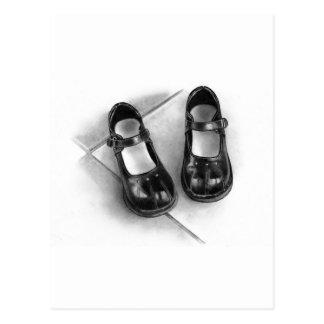 LITTLE BLACK SHOES: PENCIL ART: REALISM POSTCARD