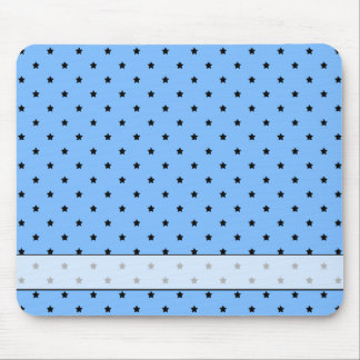 Little black stars on a light blue background. mouse pad