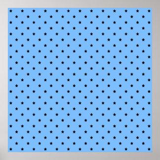 Little black stars on a light blue background. poster