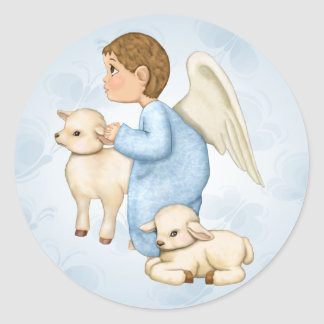 Little Blessings Angel Boy Classic Round Sticker