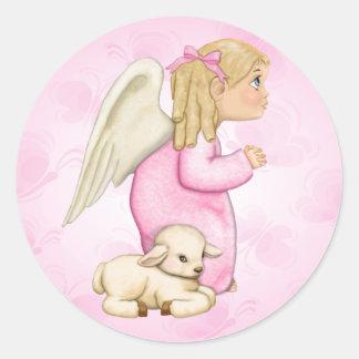 Little Blessings Angel Girl Classic Round Sticker