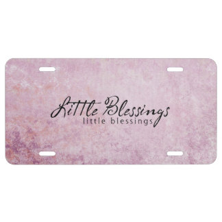 Little Blessings on PInk diamond Background License Plate