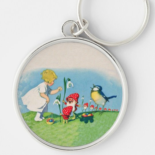 Little Blond Girl Elves Bird Flowers Colored Eggs Keychain