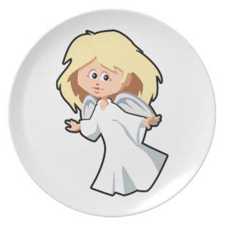 Little Blonde Angel Girl Dinner Plate