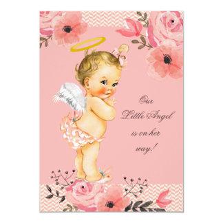 Little Blonde Angel Watercolor Flowers Baby Shower Card