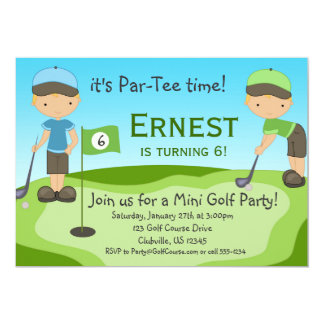 Little Blonde Boy Golfers, Golf Birthday Party Card
