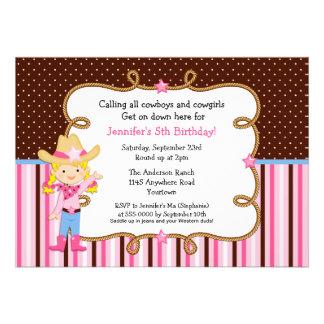 Little Blonde Cowgirl Birthday Custom Invitation