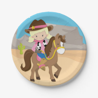Little Blonde Cowgirl on Horse Paper Plate