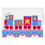 Little Blue and Red Train Greeting Card