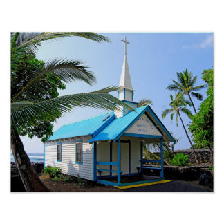 Little Blue and White Church in Hawaii Poster