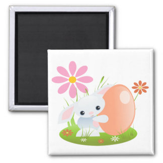Little Blue Baby Bunny With Flowers 2 Inch Square Magnet