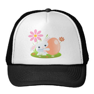 Little Blue Baby Bunny With Flowers Mesh Hat