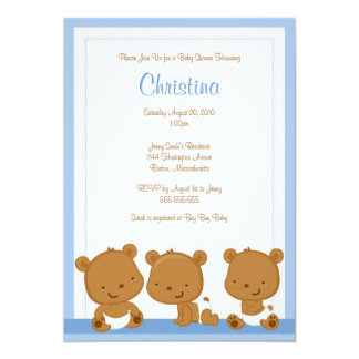 Little Blue Bears Boy Baby Shower Invitation