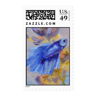 Little Blue Beta Fish Postage Stamps