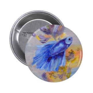 Little Blue Betta Fish 2 Inch Round Button