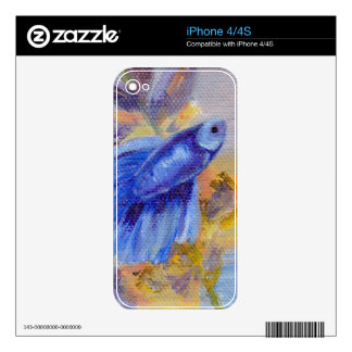 Little Blue Betta Fish IPhone Skin Decal For The iPhone 4S