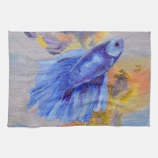 Little Blue Betta Fish Kitchen Towel