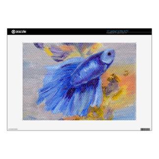 "Little Blue Betta Fish Skin Skin For 15"" Laptop"
