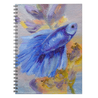 Little Blue Betta Fish Spiral Note Book